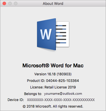 About Word dialog box